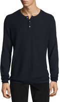 Vince Jersey Mix-Stitch Long-Sleeve Henley T-Shirt