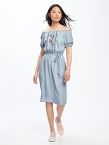 Old Navy Embroidered Off-Shoulder Tencel® Midi Dress for Women
