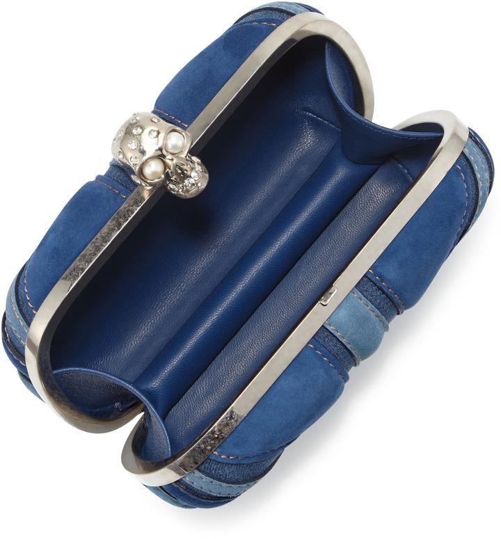 Alexander McQueen Brittania Suede & Denim Skull Box Clutch, Blue Denim