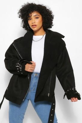boohoo Plus Bonded Aviator Jacket