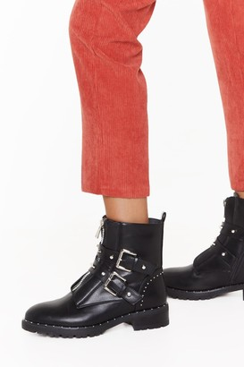 Nasty Gal Womens What Stud You Like Faux Leather Biker Boots - black - 3