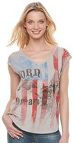 Rock & Republic Women's Slash Flag & Eagle Graphic Tee