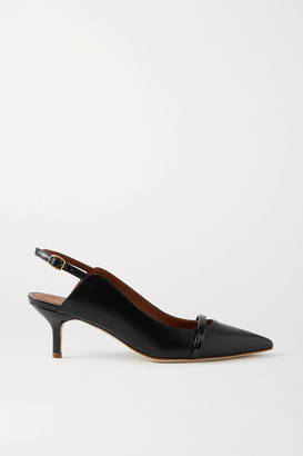 Malone Souliers Marion 45 Patent-trimmed Leather Slingback Pumps