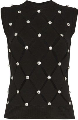 Paco Rabanne Crystal-Embellished Cut-Out Knit Top