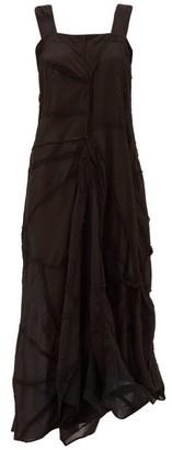 By Walid Manal Asymmetric Patchwork-cotton Dress - Black