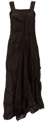 By Walid Manal Asymmetric Patchwork-cotton Dress - Womens - Black