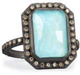 Armenta Old World Midnight Turquoise & Quartz Doublet Ring with Champagne Diamonds