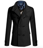 WSLCN Mens Classic Overcoat in Wool Double Breasted Peacoat