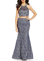 Sequin Hearts High Neck Illusion-Yoke Foiled Lace Crop Top to Trumpet Skirt Two-Piece Dress