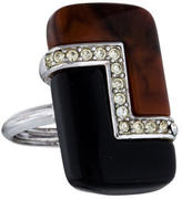 Lanvin Crystal & Resin Cocktail Ring