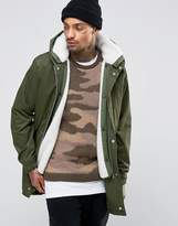 Asos Parka Jacket With Removable Borg Lining In Khaki