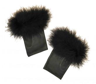 Perrin Paris Black Fur Gloves