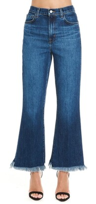 J Brand Cropped High Rise Flared Jeans