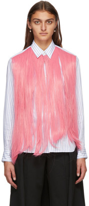 Comme des Garçons Homme Plus White and Pink Hair Shirt