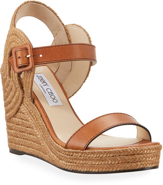 Jimmy Choo Delphi Leather Espadrille Wedge Sandals
