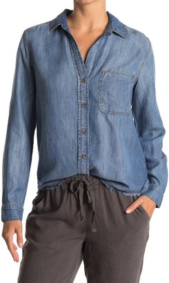 Cloth & Stone Frayed Hem Button Front Shirt
