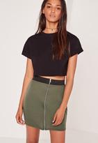 Missguided Zip Front Mini Elastic Waist Skirt Khaki