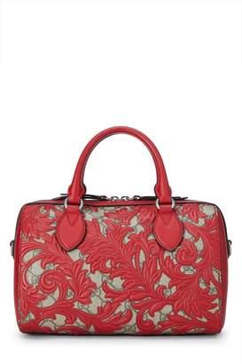 Gucci Red Arabesque GG Supreme Coated Canvas Boston Bag Small