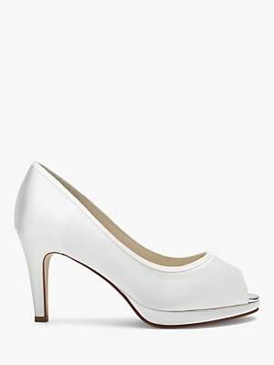 PeepToe Rainbow Club Amber Bridal Platform Peep-Toe Court Shoes, Ivory Satin