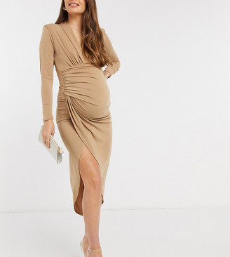 Queen Bee plunge front wrap detail maxi dress in camel