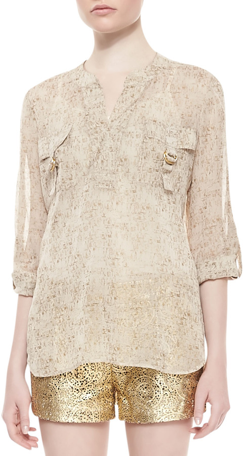 Diane von Furstenberg Danielle Runway Long-Sleeve Flap Pocket Top, Cork Foil