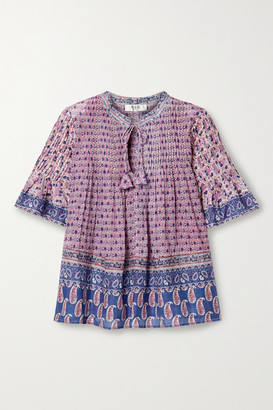 Sea Bianca Pintucked Printed Cotton-voile Top - Purple