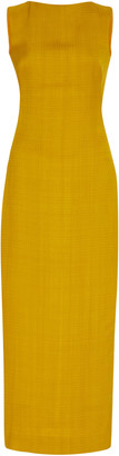 Brandon Maxwell Stretch-Linen Midi Sheath Dress