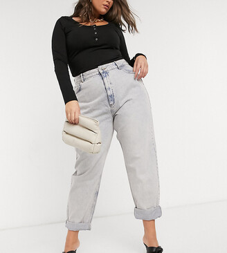 ASOS DESIGN Curve high rise 'slouchy' mom jeans in antique wash