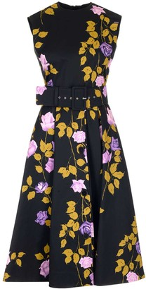 MSGM Floral Print Belted Midi Dress