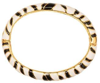 Kenneth Jay Lane Black And White Tiger Print Bangle
