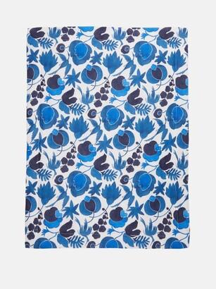 La DoubleJ Set Of Two Wildbird-print Linen Placemats - Blue Print