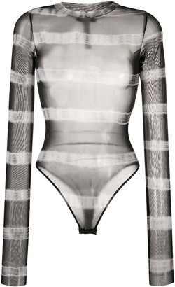 Diesel Stretch-Mesh Striped Bodysuit