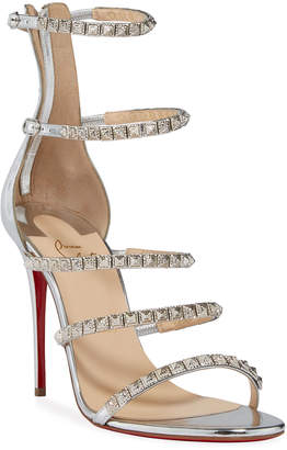 Christian Louboutin Loubi Queen Studded Strappy Red Sole Sandals