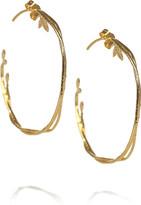 Alex Monroe 22-karat gold-plated vine hoop earrings