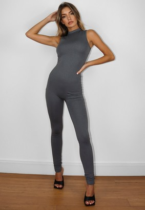 Missguided Grey High Neck Sleeveless Jumpsuit