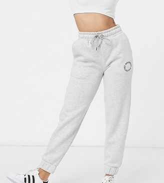 ASOS DESIGN Weekend Collective Petite oversized sweatpants with logo in gray marl