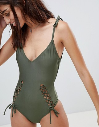 Glamorous Cut Out Detail Halter Swimsuit