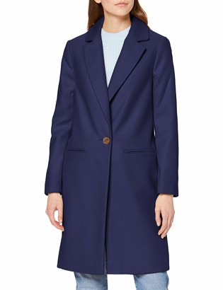 Miss Selfridge Women's Navy Crombie Wool Blend Coat 6