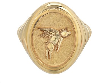 Retrouvaí Grandfather Flying Pig Signet Ring - Yellow Gold