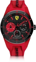 Ferrari Red Rev T Black Stainless Steel Case and Red Silicone Strap Men's Watch