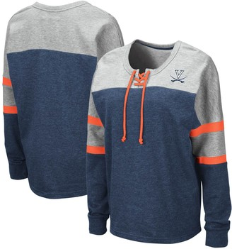 Colosseum Women's Navy Virginia Cavaliers Manolo Lace-Up French Terry Pullover Sweatshirt