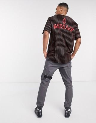 Mennace baseball shirt with logo in black and red stripe