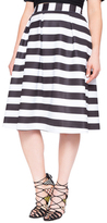 ELOQUII Plus Size Striped Pleated Skirt