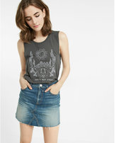 Express slim a-line denim mini skirt
