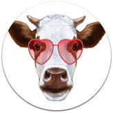 """Design Art Usa Cow With Red Heart Glasses, Modern Animal Round Wall Art, 23"""""""