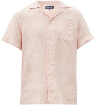 Frescobol Carioca Cuban-collar Short-sleeved Linen Shirt - Pink