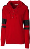 Cutter & Buck Red & Black Kate Hooded Henley Sweater