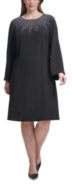 Calvin Klein Size Embellished-Neck Sheath Dress