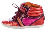 Sergio Rossi Metallic Leather High-Top Sneakers