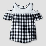 Cat & Jack Girls' Short Sleeve Cold Shoulder Top - Cat & Jack Black/White
